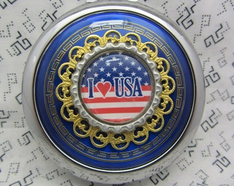 Compact Mirror I Love USA Comes With Protective Pouch