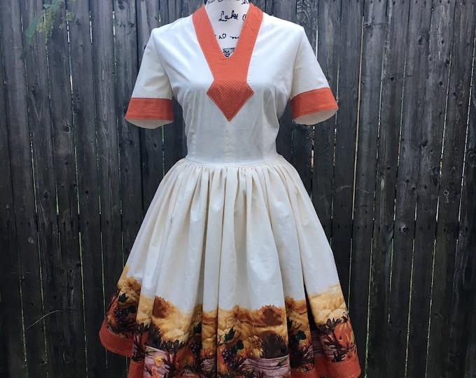Autumn Harvest Border Print Dress