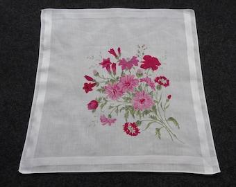 Sale - Vintage Pink Wild Flowers Cotton Hankie Handkerchief