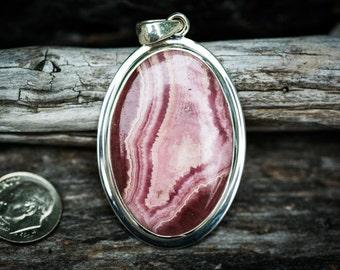 Rhodochrosite Pendant - Pink Rhodochrosite and Sterling Silver Pendant - Rhodochrosite Jewelry - Pink Rhodochrosite Necklace - Rhodochrosite