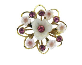 Vintage Pink Flower Brooch,  Pink Rhinestone Flower Brooch, Pink and Gold Flower Pin, Gold Flower Pin