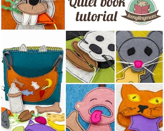 Quiet book - Activity book - pattern pdf - Feeding Time -english Tutorials for 8 pages (31 pdf pages) - step-by-step instructions