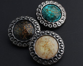 6 Pcs 0.98~1.34 Inches Retro Blue/Gray/Black/Beige/Yellow Pattern Crystal Rhinestone Plastic Shank Buttons For Coats