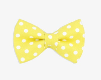 Yellow Polka Dot Dog Bow Tie // yellow dog bow tie // dog bow tie // bow tie // yellow bow tie // dog collar // dog accessories // dog lover