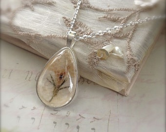 Pressed Flower Pendant Teardrop Dome Glass Pendant Necklace Silver Colour Gift for Her Spring Sale
