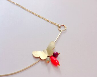 Papillon butterfly pendant in brass and stones