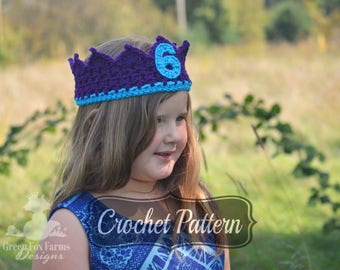 Crochet Pattern, Crochet Crown, First Birthday Crown, Girls Crochet Crown, DIY Crochet Crown, Birthday Crown, PDF Crochet Pattern