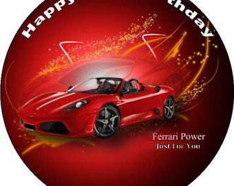 "Sports CarPersonalised Pre Cut Icing/Premium Rice Paper Cake Topper 7.5"""