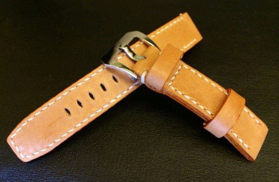 Handmade genuine Leather Strap for Rolex watch 20mm, Beige Leather watch band, White stitching and 20mm silver buckle