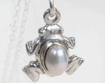 Frog Necklace Sterling Silver Freshwater Pearl