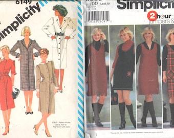 "LOT of 2, Simplicity 6149, Sz 10/Bust 32.5"", 80s Shirt/Coat Dress & Simplicity 5850, Sz 4-10/Bust 29.5-32.5"". Pullover Jumper,UNCUT patterns"