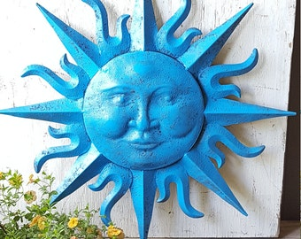 Large Metal Sun Wall Art Turquoise Antique Brasss Garden Decor Metal Sun  Face Decor Metal Garden Wall Hanging Wall Decor Sun Face Wall Art
