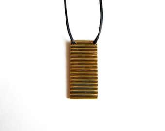 Gold Modern Pendant-Brass Tube Necklace -Brass Minimalist Necklace-Brass Pendant-Oxidized Jewelry-Handcrafted Jewlery-Modern Jewelry