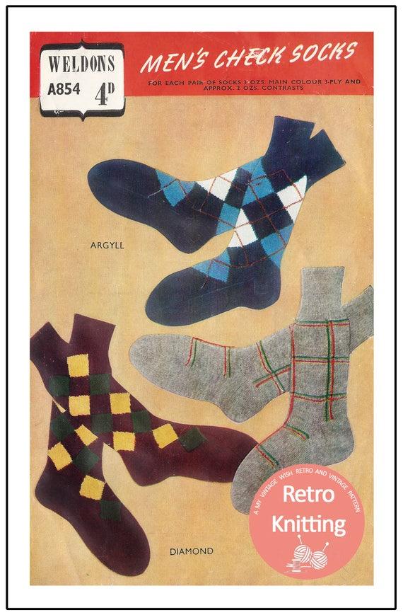 Men\'s Sock Vintage Knitting Pattern PDF Sock Pattern