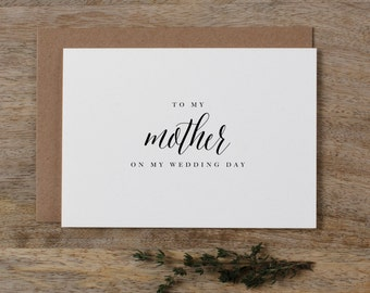 Wedding Card To My Mother, To My Parents on My Wedding Day, To My Mom Card, Thank You Wedding Card, To My Mother On My Wedding Day Card, K7