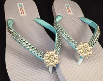 Annabeth Bridal Flip Flops, Custom Flip Flops, Pearl Gem Dancing Shoes, Pearl Bling Bridal Sandals, Wedding Flip Flops, Beach Wedding Shoes