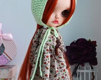 Blythe doll  Knitted hats for dolls Blythe ooak custom blythe handmade