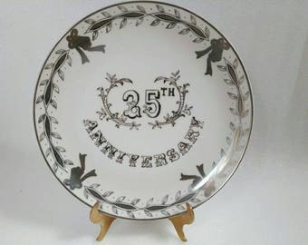 Vintage Hand Painted Lefton China 25th Anniversary Plate 3697