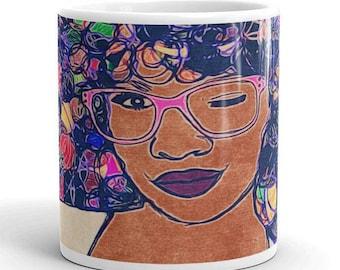 Natural Hair Art Mug // African American Art // Black Art // Afro // Black Woman // Black Girl // Black Owned // Team Natural // Culture