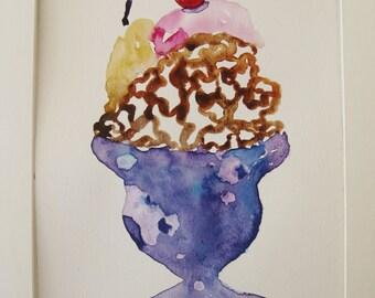Ice cream sundae watercolor painting, original watercolor painting, kitchen art
