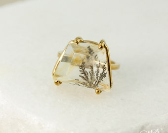 Gold Clear Dendritic Quartz Ring - Trapezoid Dendritic Quartz Ring - Statement Ring - One of a Kind