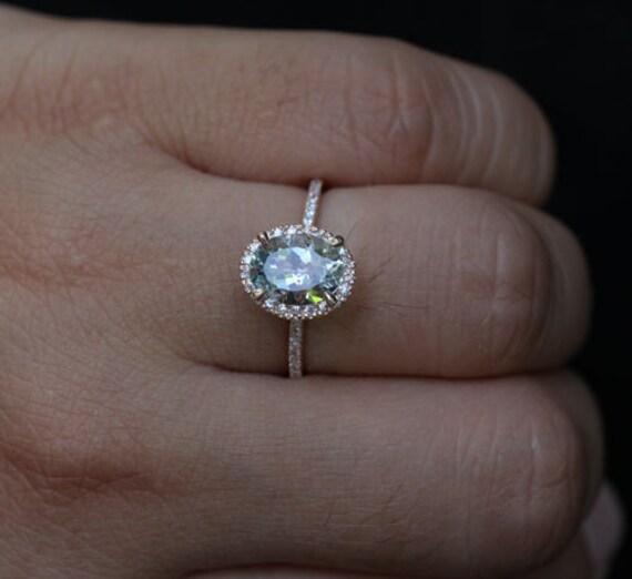 Rose Gold Aquamarine Engagement Ring Diamond Ring 14k Gold