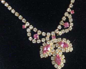 Very Pretty Pink Rhinestone Swag Choker Necklace - Gifts for Her - Prom Jewellery -  Bridal Jewellery