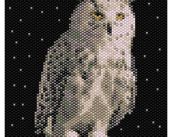 Snowy Owl Tapestry 4 x4 inch Peyote Bead Pattern, Seed Beading Pattern Miyuki Delica Size 11 Beads - PDF Instant Download