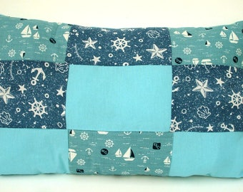 Rectangle Sea Blue Patchwork effect cushion handmade