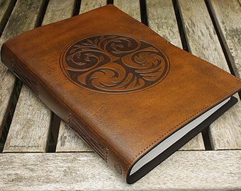 A4, Large, Leather Bound Journal, Tree of Life, Tree Design, Brown Leather, Leather Notebook, Blank Book, Book of Shadows, Personalized.