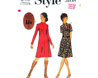 1970s Vintage Dress Pattern Style 3108 Stand Up Collar, Short or Long Sleeve Womens Bust 35 Sewing Pattern