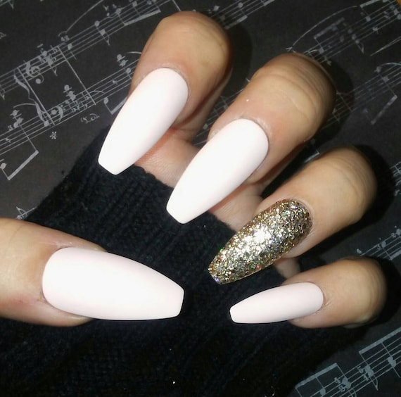 Nude White Cream Coffin Nails w Gold Glitter Accent, Matte, Long or ...