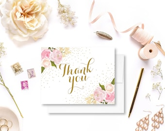 Floral Wedding Thank You Card Romantic Floral Gold Sparkles Floral Thank You Wedding Thanks Wedding Card Wedding Note #CL111