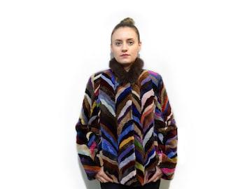 Colorful beaver fur coat F714