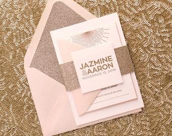 Letterpress Printing - Blush and Gold Glitter Wedding Invitations - SAMPLE (DARBIE)