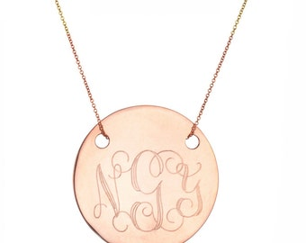 "Engraved 1"" Monogram necklace - personalize rose gold monogram necklace 18k rose gold plated 925 silver"