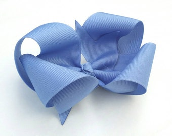 Light blue hair bow, bluebird bow, twisted boutique bow, light blue loopy bow, solid grosgrain ribbon bow, alligator clip, girls hair bow