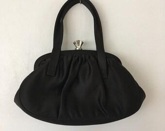 Vintage Black Purse. Clutch. Evening Bag. Elegant. Understated. Classic Hand Bag. Purse. La Regale. Hand Bag. Black Clutch