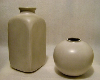 2 vases enamelled terracotta year 1967 made by Ernestine