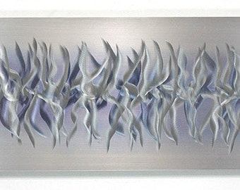 All Natural Silver Modern Metal Wall Art - Etched Metallic Abstract Wall Sculpture - Reflective Unique Decor - Purple Array by Jon Allen
