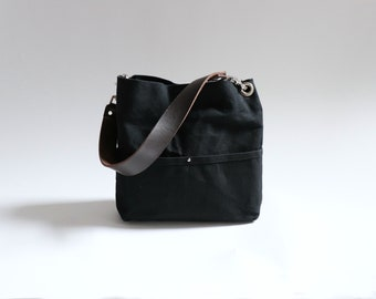Small Hobo Purse in Black Waxed Canvas