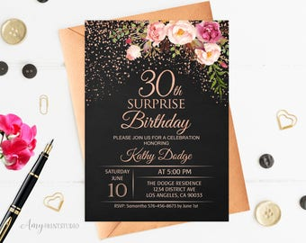 30th Surprise Birthday Invitation, Floral Women Birthday Invitation, Chalkboard Birthday Invite, Rose Gold, PERSONALIZED, Digital file, #W89