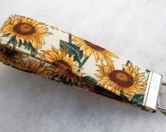 Key Fob wristlet - Sunflower4 white