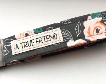 Key Chain Wristlet Moda Farmer's Daughter Gray Flower Fabric  Key Fob with Message Unique Wristlet
