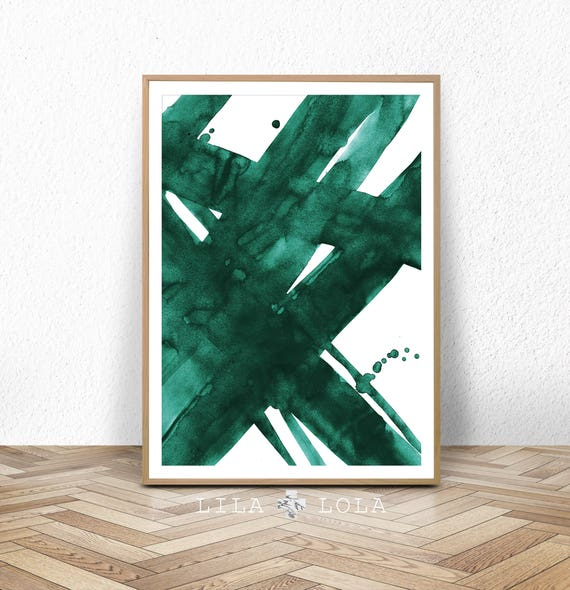 Abstract Wall Art Print, Green Painting, Emerald, Teal Decor, Modern Minimalist, Watercolour, Printable Digital Download, Large Poster