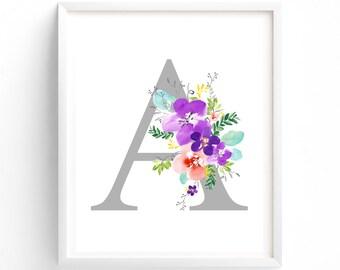 Art Prints, Purple Floral Printable Letter A Monogram, Floral, Grey letters,  Flower Lettering, Nursery, Plum, Purple, Baby monogram