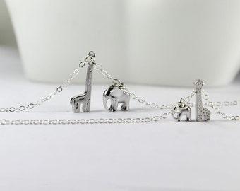 Matching Silver Jewelry.Big Elephant Giraffe Necklace,Babe Elephant Giraffe neckalce, Big Sis. Lil Sis ,Mother daughter Matching jewelry.