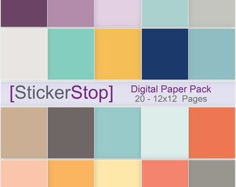 Solid original inkWELL Planner inspired colored Digital Paper Set - Instant download PNG files - 12 x 12 paper