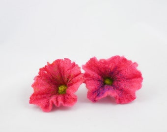 2pcs-Set of 2 hand felted pink flowers-Wool-Silk,vivid pink