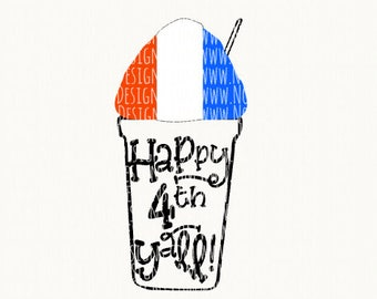 Girls 4th of July Svg Cut File - Fourth of July Svg Cut File - Southern 4th of July Svg - Snowball Svg Cut File - Happy 4th Y'all Svg